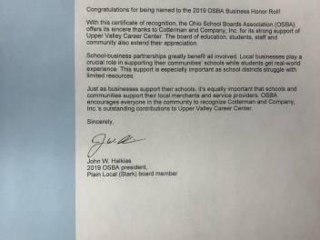 Cotterman OSBA Business Honor Roll Letter